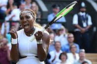 US player Serena Williams celebrates beating Italia's Giulia Gatto-Monticone during their women's singles first round match on the second day of the 2019 Wimbledon Championships at The All England Lawn Tennis Club in Wimbledon, southwest London, on July 2, 2019. (Photo by Glyn Kirk/AFP/Getty Images)