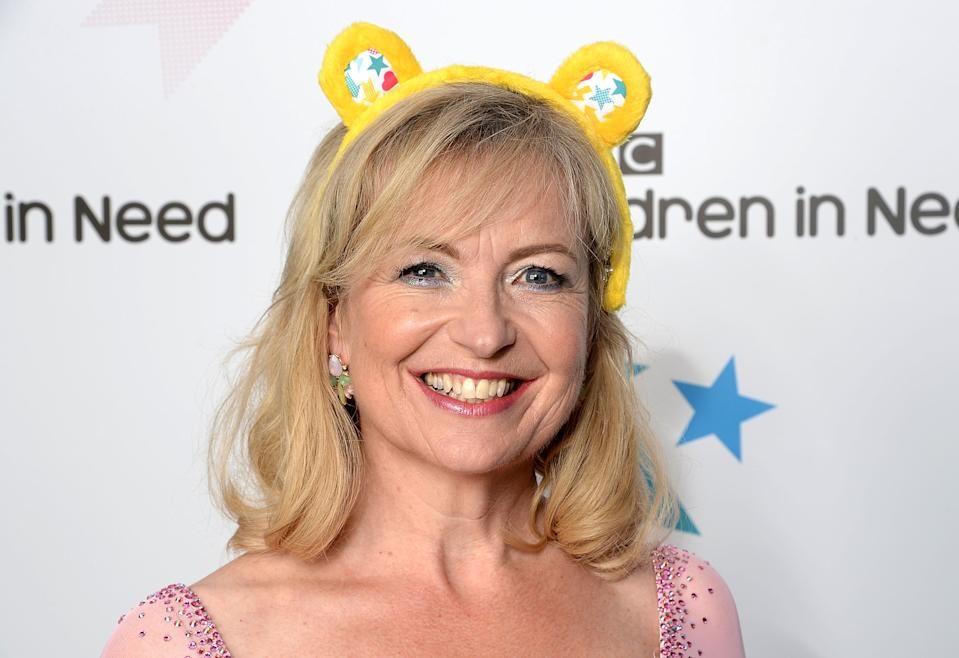 BOREHAMWOOD, ENGLAND - NOVEMBER 07:  Strictly Come Dancing star Carol Kirkwood supports BBC Children in Need ahead of the BBC One Appeal show on Friday 13th November, at Elstree Studios on November 7, 2015 in Borehamwood, England.  (Photo by Dave J Hogan/Dave J Hogan/Getty Images)