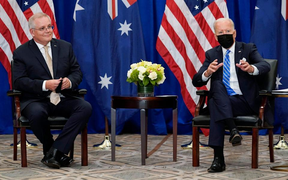 President Joe Biden meets with Australian Prime Minister Scott Morrison at the Intercontinental Barclay Hotel during the United Nations General Assembly - AP