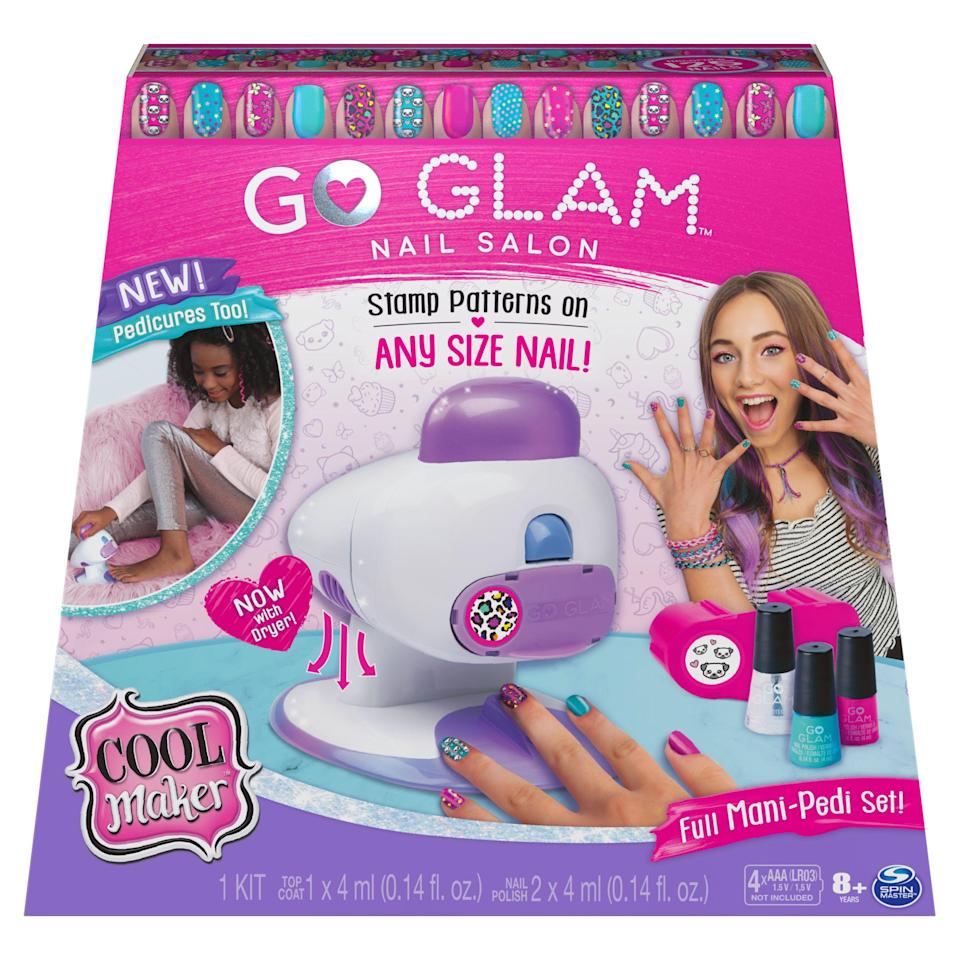 """<p><strong>Cool Maker</strong></p><p>walmart.com</p><p><strong>$19.88</strong></p><p><a href=""""https://go.redirectingat.com?id=74968X1596630&url=https%3A%2F%2Fwww.walmart.com%2Fip%2F822016853&sref=https%3A%2F%2Fwww.womansday.com%2Flife%2Fg34428616%2Fnew-toys-2020%2F"""" rel=""""nofollow noopener"""" target=""""_blank"""" data-ylk=""""slk:SHOP NOW"""" class=""""link rapid-noclick-resp"""">SHOP NOW</a></p><p>Become a beautician right at home with this glam nail salon kit. You and the kids can create fab mani-pedis with four different polish colors, stamps and a nail dryer. <em>Ages 8+</em></p>"""