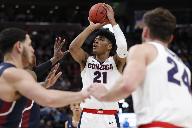 FILE - In this March 21, 2019, file photo, Gonzaga forward Rui Hachimura (21) shoots against Fairleigh Dickinson during a first round men's college basketball game in the NCAA Tournament, in Salt Lake City. Hachimura is one of the top forwards in the NBA Draft on Thursday, June 20. (AP Photo/Jeff Swinger, File)
