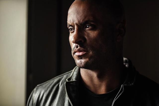 <p>Ricky Whittle as Shadow Moon in Starz's <i>American Gods</i>.<br><br>(Photo: Starz) </p>