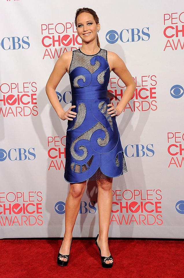 LOS ANGELES, CA - JANUARY 11:  Actress Jennifer Lawrence poses in the press room during the 2012 People's Choice Awards at Nokia Theatre L.A. Live on January 11, 2012 in Los Angeles, California.  (Photo by Jason Merritt/Getty Images)