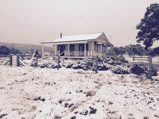 Snow hits a property in Stanthorpe in south east Queensland in 2015. Another chilly winter is predicted in 2018. Source: AAP