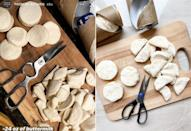 <p>Using a pair of scissors:</p> <ul> <li>Cut 24 ounces of buttermilk biscuit dough (about 2 cans of biscuits) in half into bite size pieces.</li> </ul>