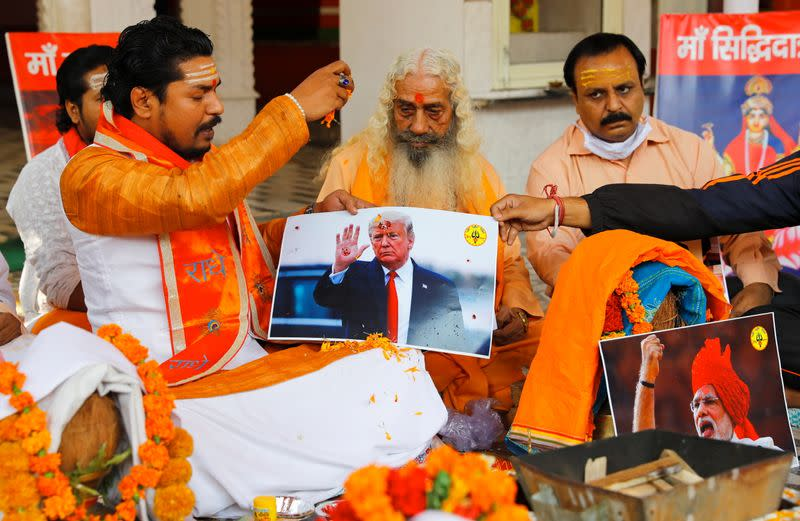 Activists of Hindu Sena, perform a special prayer to ensure a victory of U.S. President Donald Trump in the elections, in New Delhi