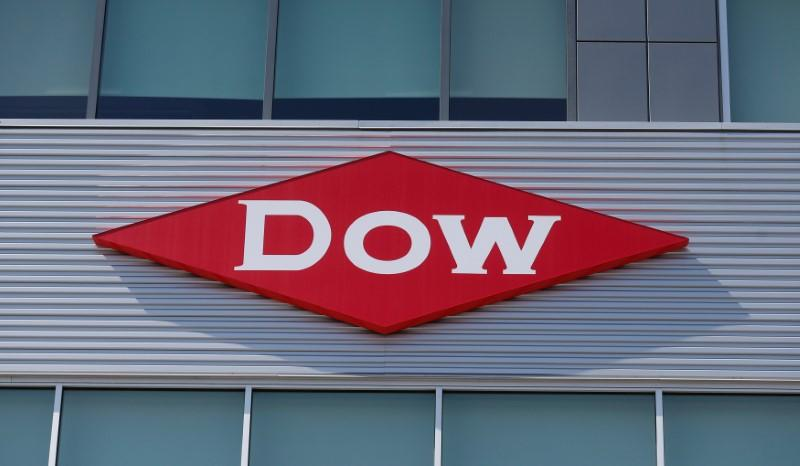 The Dow logo is seen on a building in downtown Midland, Michigan