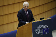 """European Union foreign policy chief Josep Borrell addresses lawmakers about the EU's ties with Russia at the European Parliament in Brussels, Tuesday, Feb. 9, 2021. Germany, Poland and Sweden on Monday each declared a Russian diplomat in their country """"persona non grata"""", retaliating in kind to last week's decision by Moscow to expel diplomats from the three European Union countries. (AP Photo/Francisco Seco)"""