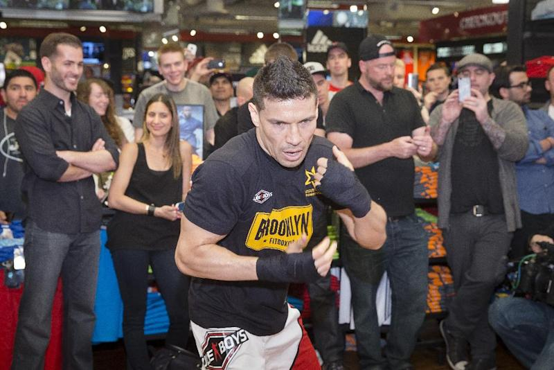 WBC middleweight champion Sergio Martinez participates in a media workout at Modell's in Times Square Monday, June 2, 2014, in New York. Martinez squares off against challenger Miguel Cotto at Madison Square Garden on Saturday, June 7