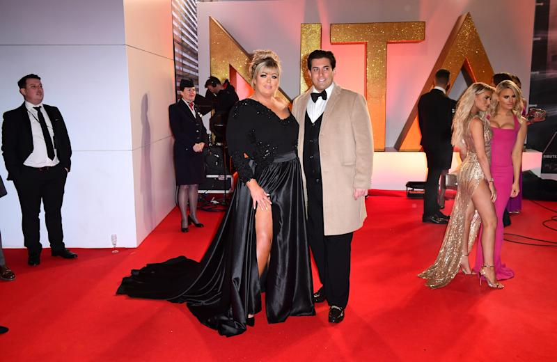 Gemma Collins and James Argent attending the National Television Awards 2019 held at the O2 Arena, London. (Photo by Ian West/PA Images via Getty Images)