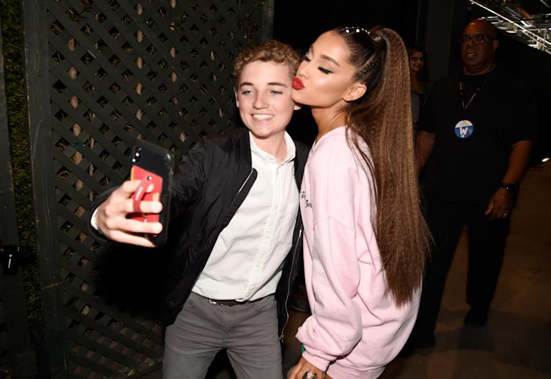 Ryan McKenna and Ariana Grande pose for a selfie backstage at the 2018 iHeartRadio Wango Tango festival on June 2.  (Kevin Mazur via Getty Images)