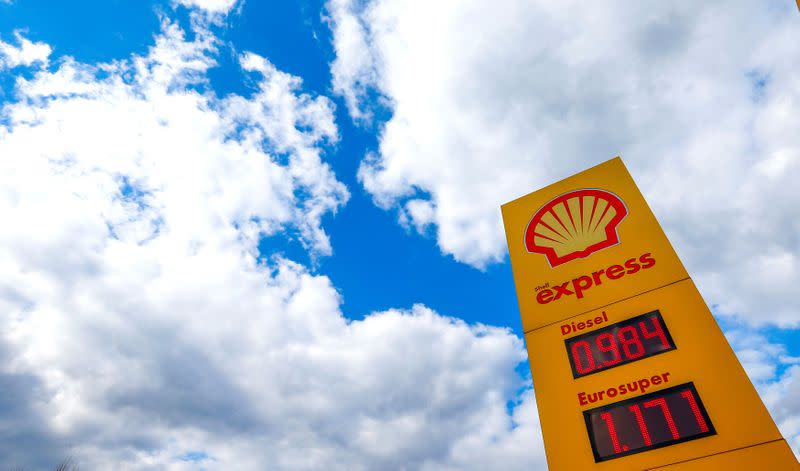 FILE PHOTO: A Royal Dutch Shell sign at a petrol station in Sint-Pieters-Leeuw, Belgium