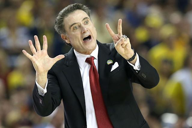 Head coach Rick Pitino of the Louisville Cardinals reacts in the first half against the Michigan Wolverines during the 2013 NCAA Men's Final Four Championship at the Georgia Dome on April 8, 2013 in Atlanta, Georgia. (Photo by Streeter Lecka/Getty Images)