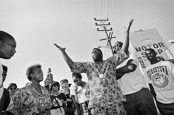"""After days of rioting, South Central residents gather to ask their fellow residents to stop the violence.<span class=""""copyright"""">Ted Soqui—Corbis/Getty Images</span>"""