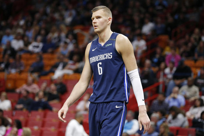 Dallas Mavericks star Kristaps Porzingis forgot to get tested for COVID-19 on Friday, and was quarantined because of it. (Michael Reaves/Getty Images)