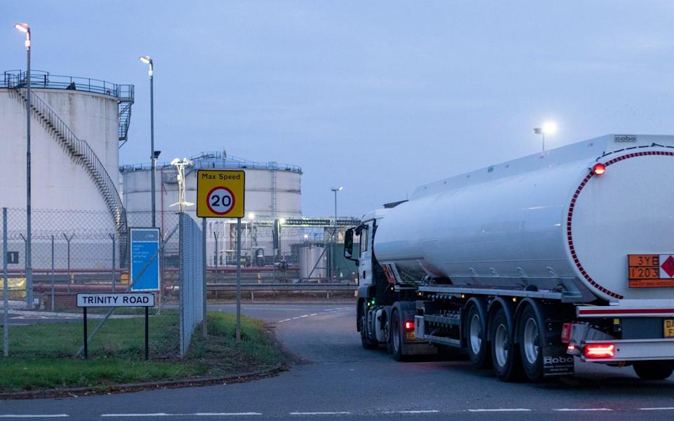 A fuel tanker arrives at a depot in the Midlands
