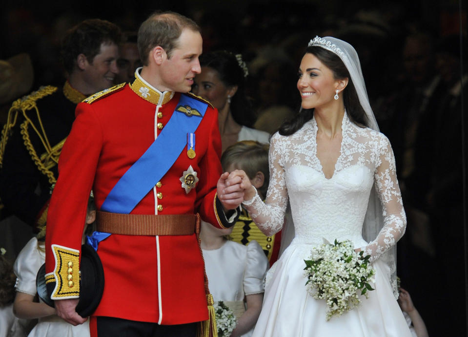 Britain's Prince William (L) and Catherine, Duchess of Cambridge, look at one another after their wedding ceremony in Westminster Abbey, in central London April 29, 2011.  Prince William married his fiancee, Kate Middleton, in Westminster Abbey on Friday. (ROYAL WEDDING/SERVICE)  REUTERS/Toby Melville (BRITAIN  - Tags: ROYALS SOCIETY ENTERTAINMENT) FOR BEST QUALITY IMAGE: ALSO SEE GM1E76L1H3N01