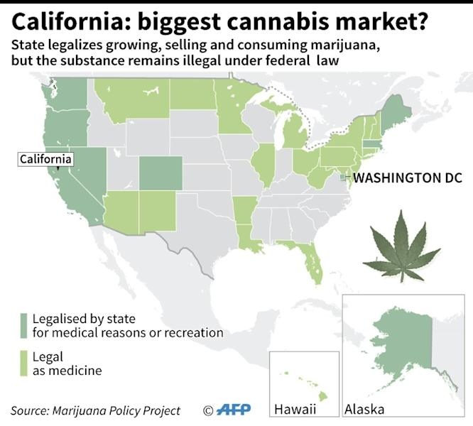 Map of United States showing state of marijuana legalization following Californian action