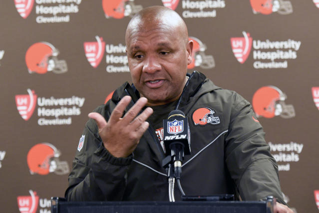 Hue Jackson's firing didn't come as a surprise to the CBS television crew. (AP Photo/Gene J. Puskar)