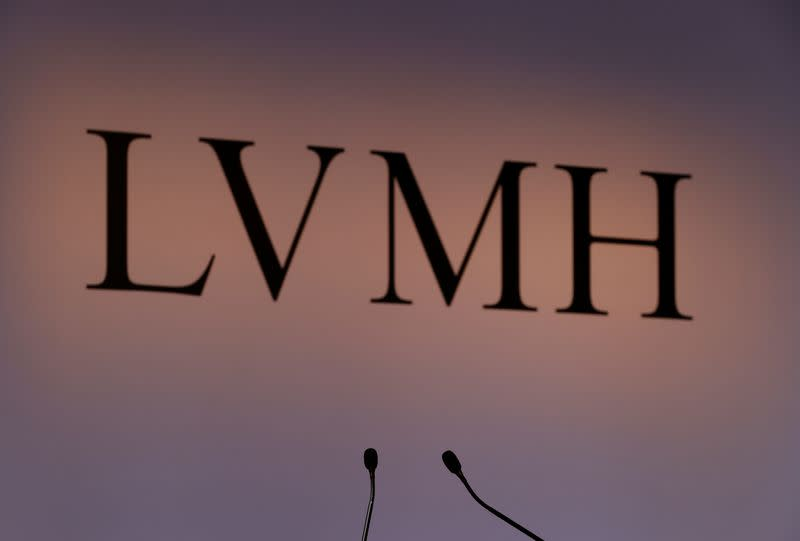 A LVMH luxury group logo is seen prior to the announcement of their 2019 results in Paris
