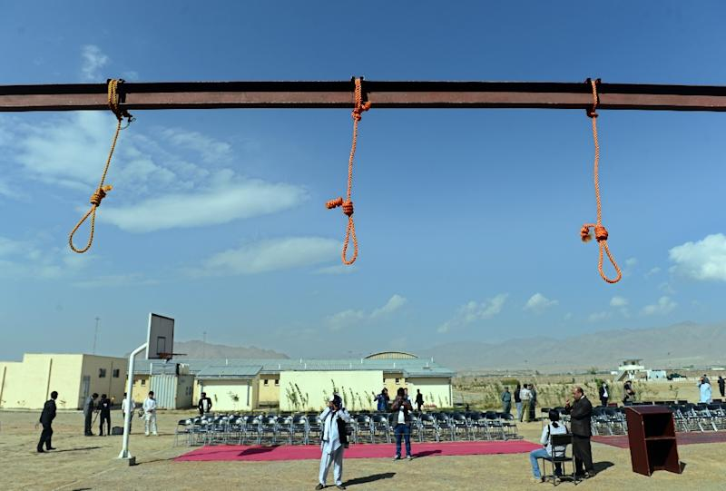 Nooses hang at Pul-e-Charkhi prison in October 2014 before an execution. Now five more  criminals have gone to the gallows at the prison