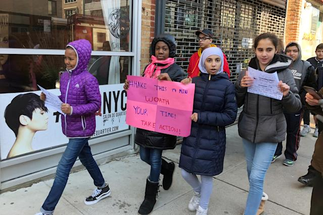 <p>Students from the School for International Studies walkout in protest of gun violence in Brooklyn, New York, U.S, March 14, 2018. (Photo: Lauren Young/Reuters) </p>