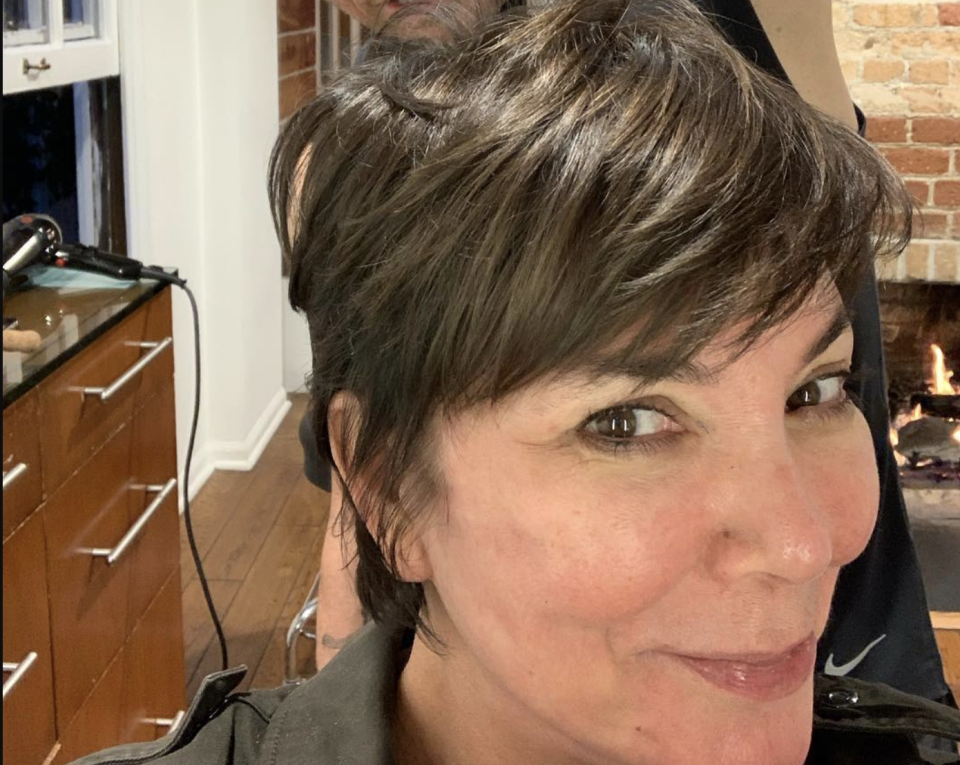 Kris Jenner shared a no-makeup photo snapped early Wednesday while getting her hair done. (Photo: Kris Jenner via Instagram)