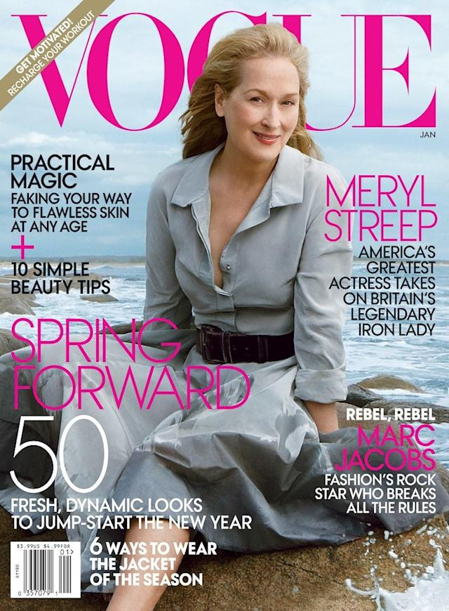 <p>It's no surprise that Streep was one of the first 60-and-older women to snag a magazine cover. At 62, she was the cover girl of <em>Vogue</em> in January 2012. (Photo: Annie Leibovitz/ Vogue Magazine) </p>