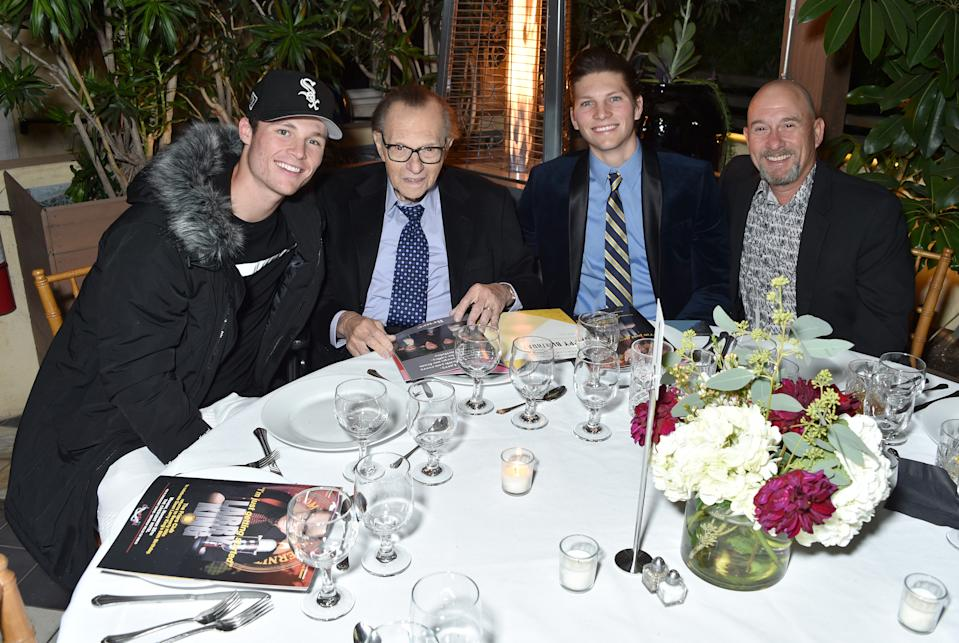 King with sons Cannon, Chance and Larry Jr. in Nov. 2019. (Photo: Gregg DeGuire/Getty Images for the Friars Club)