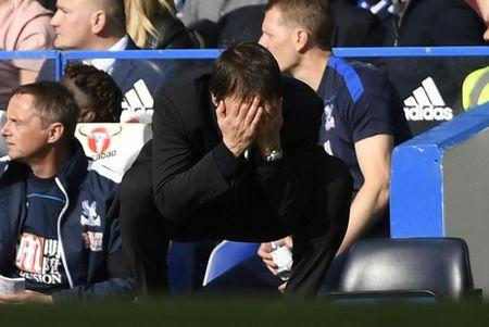 Britain Soccer Football - Chelsea v Crystal Palace - Premier League - Stamford Bridge - 1/4/17 Chelsea manager Antonio Conte looks dejected  Action Images via Reuters / Tony O'Brien Livepic