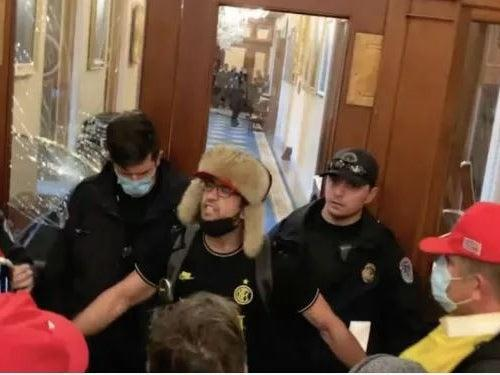 """Zachary Alam, known as """"Helmet Boy,"""" was arrested for his role in the Capitol insurrection on 6 January. (US District Attorney's Office for the District of Columbia)"""