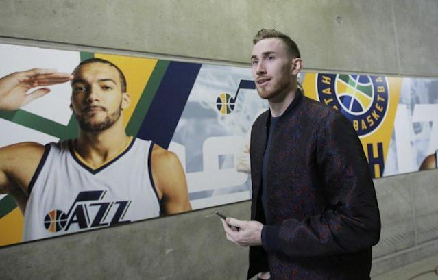 """At least <a class=""""link rapid-noclick-resp"""" href=""""/nba/players/5197/"""" data-ylk=""""slk:Rudy Gobert"""">Rudy Gobert</a> won't have to compete with <a class=""""link rapid-noclick-resp"""" href=""""/nba/players/4724/"""" data-ylk=""""slk:Gordon Hayward"""">Gordon Hayward</a> for an All-Star spot next season. (AP)"""