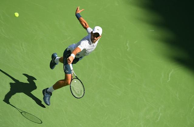 High flyer: Novak Djokovic hits a return to Joao Sousa in a US Open fourth-round victory on Monday. (AFP Photo/Don EMMERT)