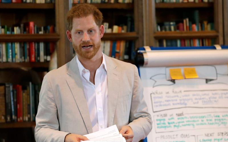The Duke of Sussex speaking at Dr Jane Goodall's Roots & Shoots Global Leadership Meeting - PA