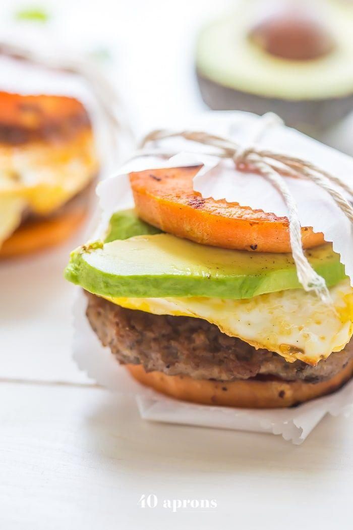 """<p>We love how these """"sandwiches"""" swap the buns for sweet potatoes. They're layered with sausage patties, eggs, and avocado for a hearty breakfast. Bonus: It's paleo-friendly! </p><p><strong>Get the recipe at <a href=""""https://40aprons.com/whole30-breakfast-sandwiches-mcgriddles/"""" rel=""""nofollow noopener"""" target=""""_blank"""" data-ylk=""""slk:40 Aprons"""" class=""""link rapid-noclick-resp"""">40 Aprons</a>.</strong></p><p><strong><a class=""""link rapid-noclick-resp"""" href=""""https://go.redirectingat.com?id=74968X1596630&url=https%3A%2F%2Fwww.walmart.com%2Fsearch%2F%3Fquery%3Dpioneer%2Bwoman%2Bspatulas&sref=https%3A%2F%2Fwww.thepioneerwoman.com%2Ffood-cooking%2Fmeals-menus%2Fg34922086%2Fhealthy-breakfast-ideas%2F"""" rel=""""nofollow noopener"""" target=""""_blank"""" data-ylk=""""slk:SHOP SPATULAS"""">SHOP SPATULAS</a><br></strong></p>"""