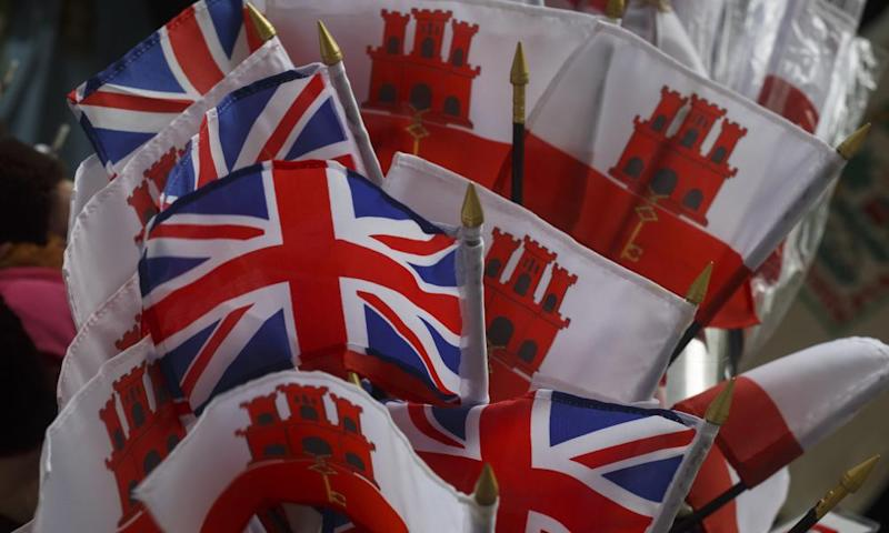 Souvenir flags of the United Kingdom and Gibraltar on sale on the Rock.