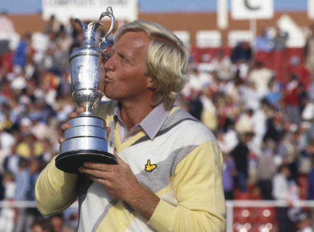 Greg Norman of Australia kisses the Claret Jug after winning his first major title during the final round of the 115th Open Championship held on July 20, 1986, at the Ailsa Course of Turnberry Golf Club in Turnberry, Scotland, United Kingdom. (David Cannon/Getty Images)