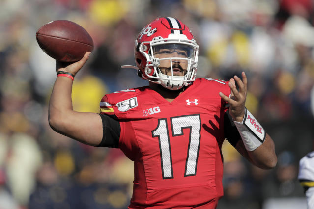 Maryland quarterback Josh Jackson throws a pass against Michigan during the second half of an NCAA college football game, Saturday, Nov. 2, 2019, in College Park, Md. Michigan won 38-7. (AP Photo/Julio Cortez)