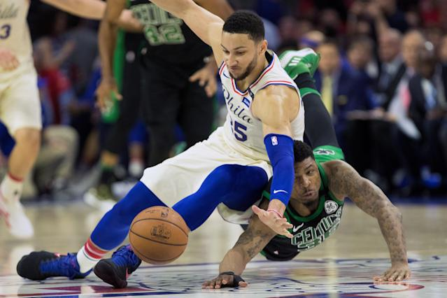 May 7, 2018; Philadelphia, PA, USA; Philadelphia 76ers guard Ben Simmons (25) and Boston Celtics guard Marcus Smart (36) drive for a loose ball during the second quarter in game four of the second round of the 2018 NBA Playoffs at Wells Fargo Center. Mandatory Credit: Bill Streicher-USA TODAY Sports TPX IMAGES OF THE DAY