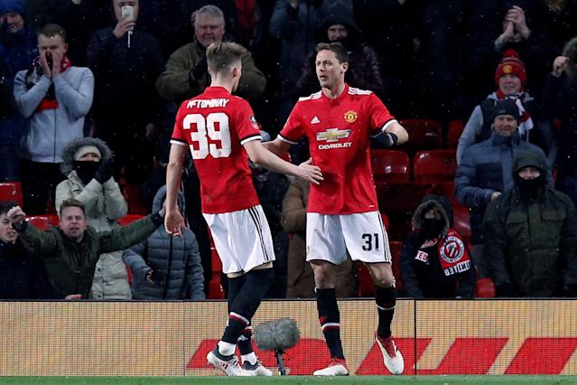 Soccer Football - FA Cup Quarter Final - Manchester United vs Brighton & Hove Albion - Old Trafford, Manchester, Britain - March 17, 2018 Manchester United's Nemanja Matic celebrates scoring their second goal with Scott McTominay REUTERS/Andrew Yates