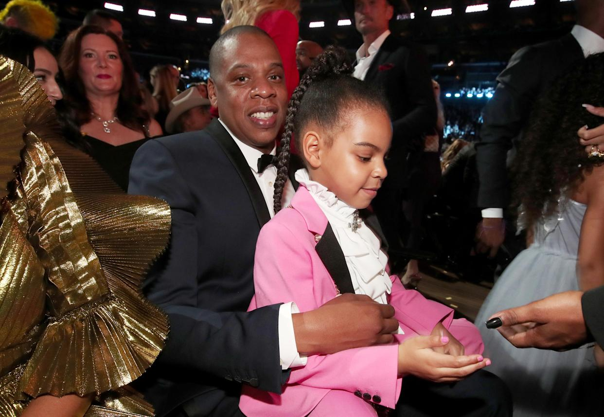 Jay-Z and his daughter Blue Ivy Carter depicted at the Grammy Awards in 2017. (Photo: Christopher Polk/Getty Images for NARAS)