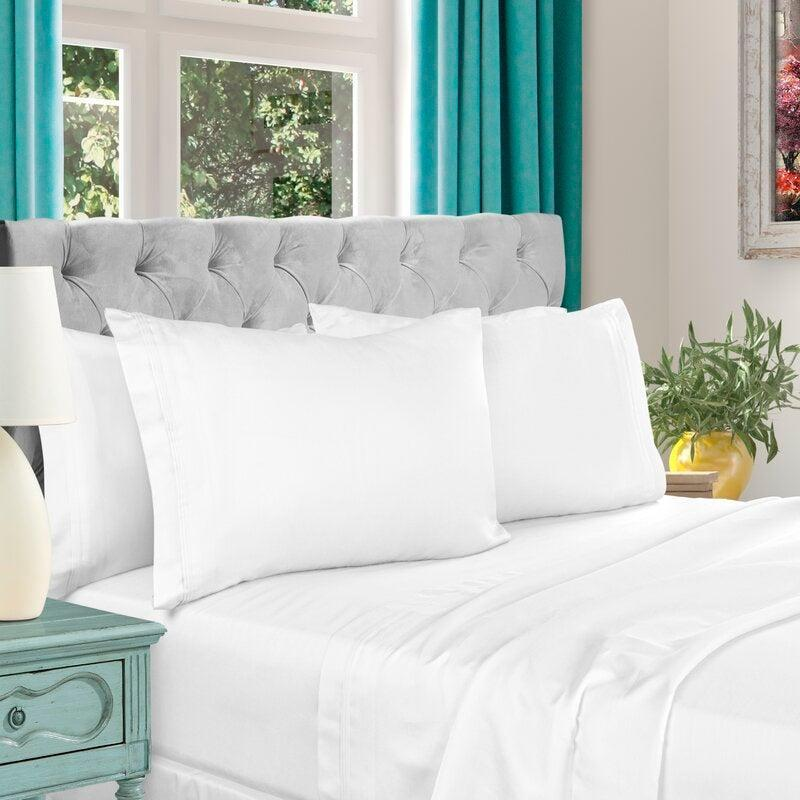 "<h2>Amherst 1000 Thread Count Cotton Sheet Set<br></h2><br><strong>Discount:</strong> 68% off<br><br><strong>The Hype: </strong>4.6 out of 5 stars and 2,909 reviews<br><br><strong>Deal Hunters Say: </strong>""Perhaps the most comfortable sheets we've ever slept on. The sheets feel heavy yet soft and what we've experienced at high-end hotels. The pleats on the top edge of the sheets are stitched very well and look great.""<br><br><em>Shop </em><strong><em><a href=""https://fave.co/38Rfi57"" rel=""nofollow noopener"" target=""_blank"" data-ylk=""slk:The Twillery Co."" class=""link rapid-noclick-resp"">The Twillery Co.</a></em></strong><br><br><strong>The Twillery Co.</strong> 1000 Thread Count Cotton Sheet Set, $, available at <a href=""https://go.skimresources.com/?id=30283X879131&url=https%3A%2F%2Ffave.co%2F38YxuK6"" rel=""nofollow noopener"" target=""_blank"" data-ylk=""slk:Wayfair"" class=""link rapid-noclick-resp"">Wayfair</a>"