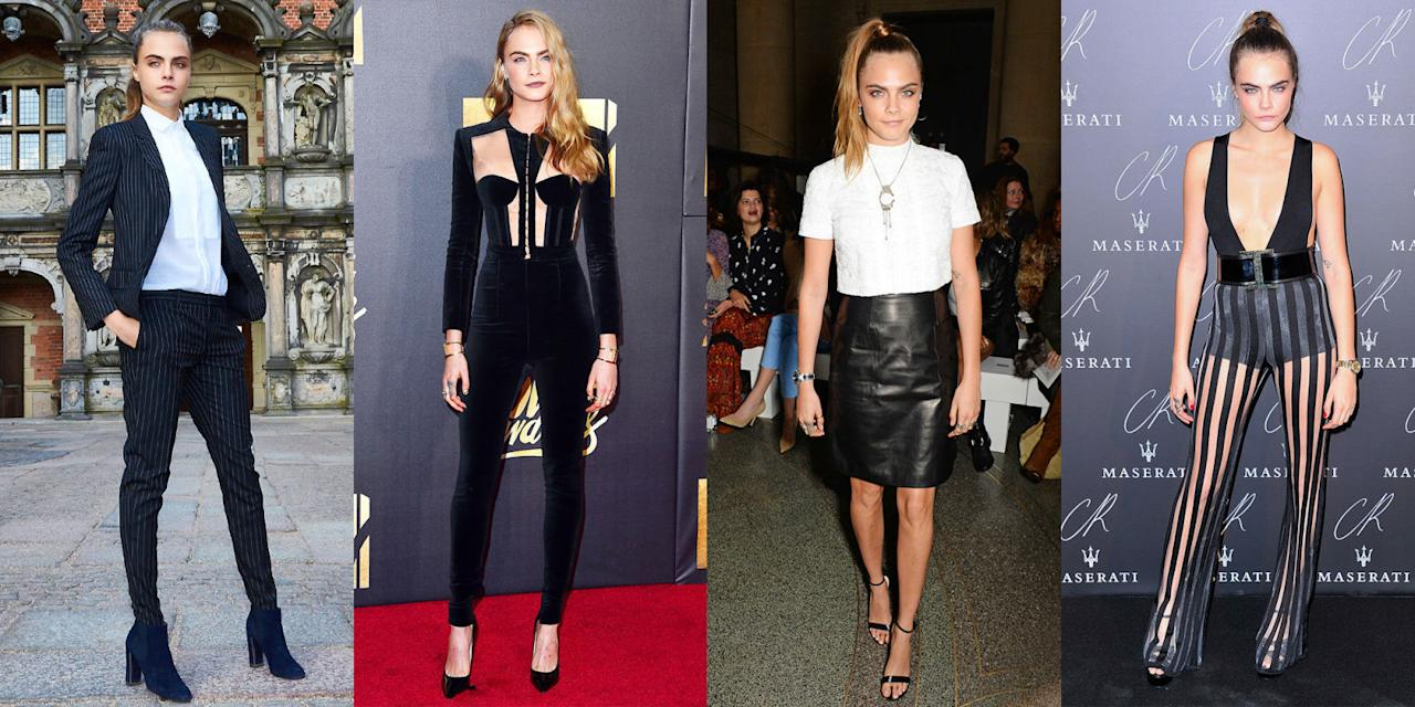 <p>The British model and It girl first caught our eyes with her enviable sneaker collection and penchant for John Lennon sunglasses, but lately Cara Delevingne has been stepping out in a slightly more sophisticated look. Taking the red carpet in tailored pantsuits and cutout dresses, Cara has mastered the art of showing skin sexily. See all her best looks.</p>