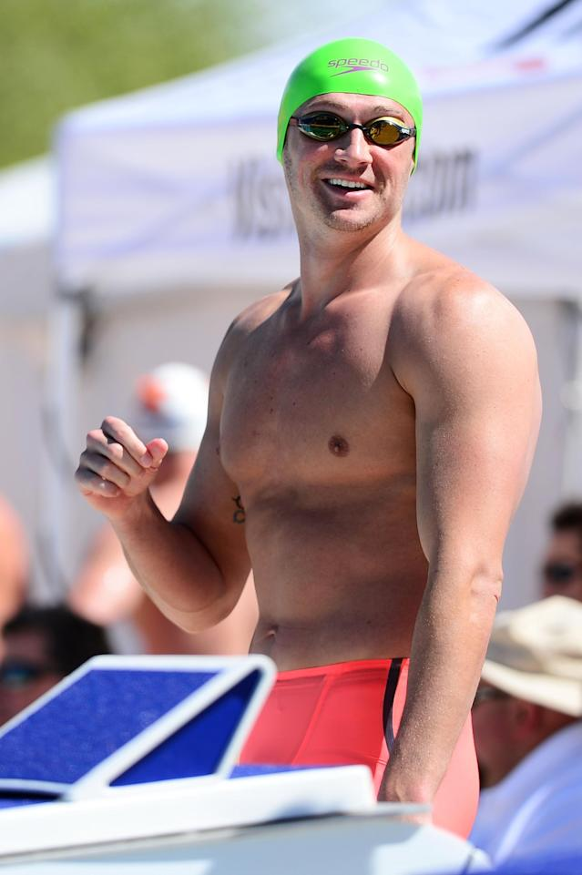 MESA, AZ - APRIL 14: Ryan Lochte smiles before competing in the Men 100 LC Meter Butterfly prelims on April 14, 2016 in Mesa, Arizona. (Photo by Jennifer Stewart/Getty Images)