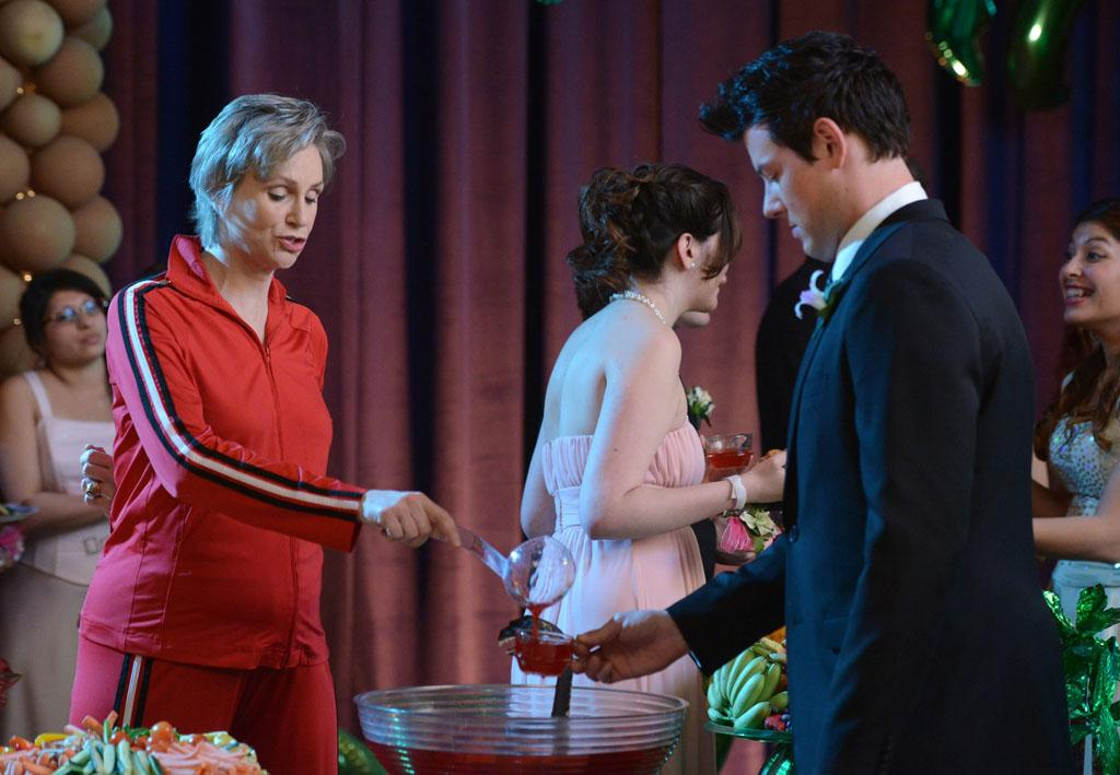 "Sue (Jane Lynch) guards the punch bowl in the ""Prom-asaurus"" episode of ""Glee."""