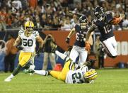 Chicago Bears' Allen Robinson runs past Green Bay Packers' Jaire Alexander during the second half of an NFL football game Thursday, Sept. 5, 2019, in Chicago. The Packers won 10-3. (AP Photo/David Banks)