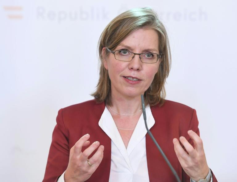 "Austrian Environment Minister Leonore Gewessler, pictured April 2020, hailed the budget for greening the country's rail network as the ""biggest rail package Austria has ever seen"""
