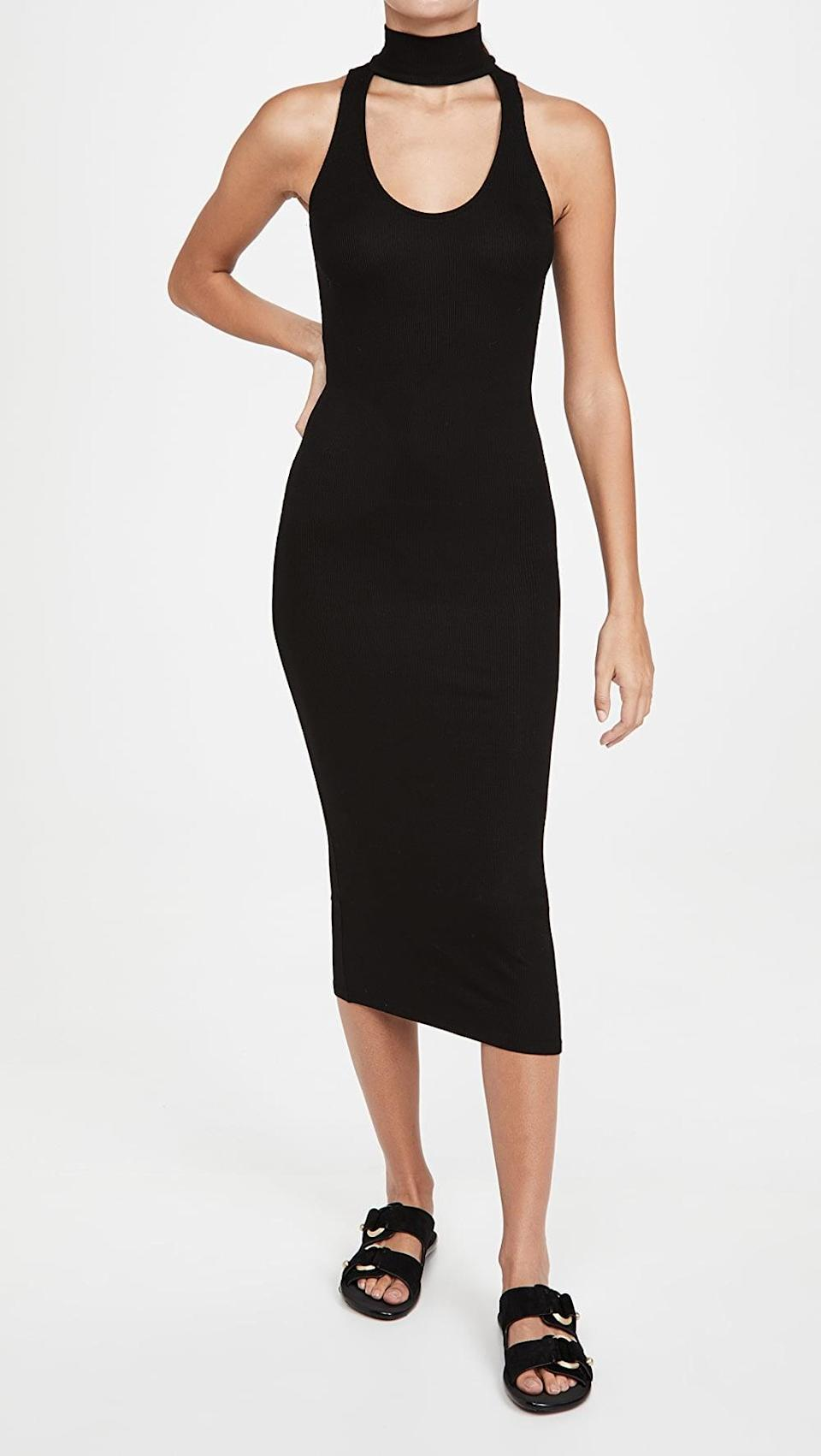 <p>The cutout of this <span>Enza Costa Mock Neck Sleeveless Midi Dress</span> ($93, originally $185) is a fun and unexpected twist.</p>