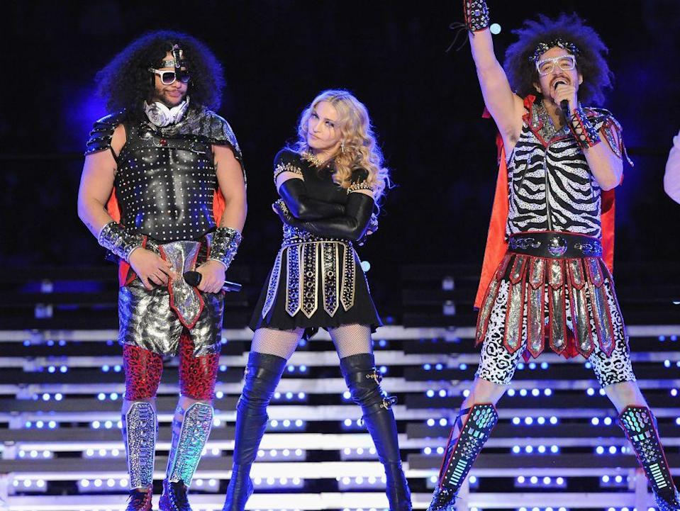 <p>Madonna was joined by LMFAO in centurion outfits.</p>