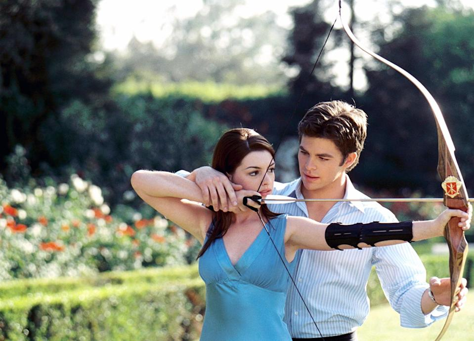 """<p>In the second installment of <strong>The Princess Diaries</strong>, Mia learns she has to get married right away or lose the crown. Enter two potential suitors: <a class=""""link rapid-noclick-resp"""" href=""""https://www.popsugar.co.uk/Chris-Pine"""" rel=""""nofollow noopener"""" target=""""_blank"""" data-ylk=""""slk:Chris Pine"""">Chris Pine</a> as the roguish Nicholas Deveraux and Callum Blue as the typical royal Andrew Jacoby.</p> <p><a href=""""https://www.disneyplus.com/movies/the-princess-diaries-2-royal-engagement/1QSMvAfkfO9z"""" class=""""link rapid-noclick-resp"""" rel=""""nofollow noopener"""" target=""""_blank"""" data-ylk=""""slk:Watch The Princess Diaries 2: Royal Engagement on Disney+ now."""">Watch <strong>The Princess Diaries 2: Royal Engagement</strong> on Disney+ now.</a></p>"""